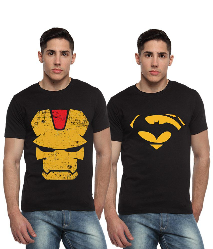 Adro Pack of 2 Black & Yellow Printed Cotton T Shirts