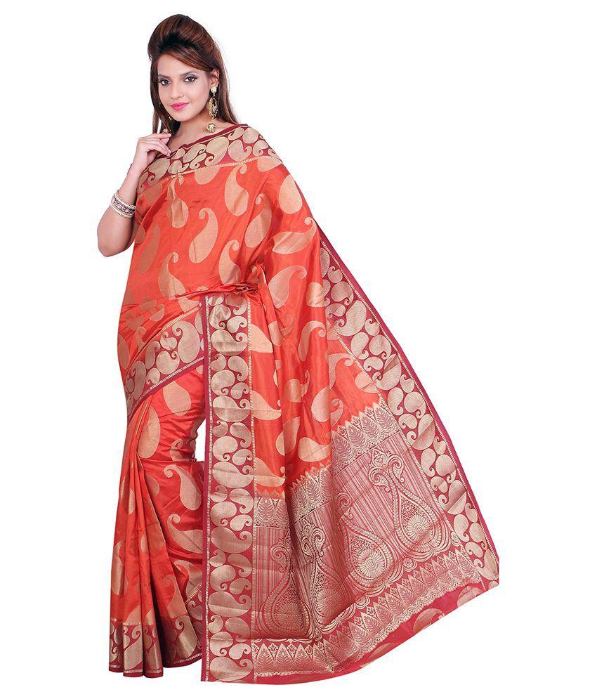 Anandi Orange Art Silk Saree