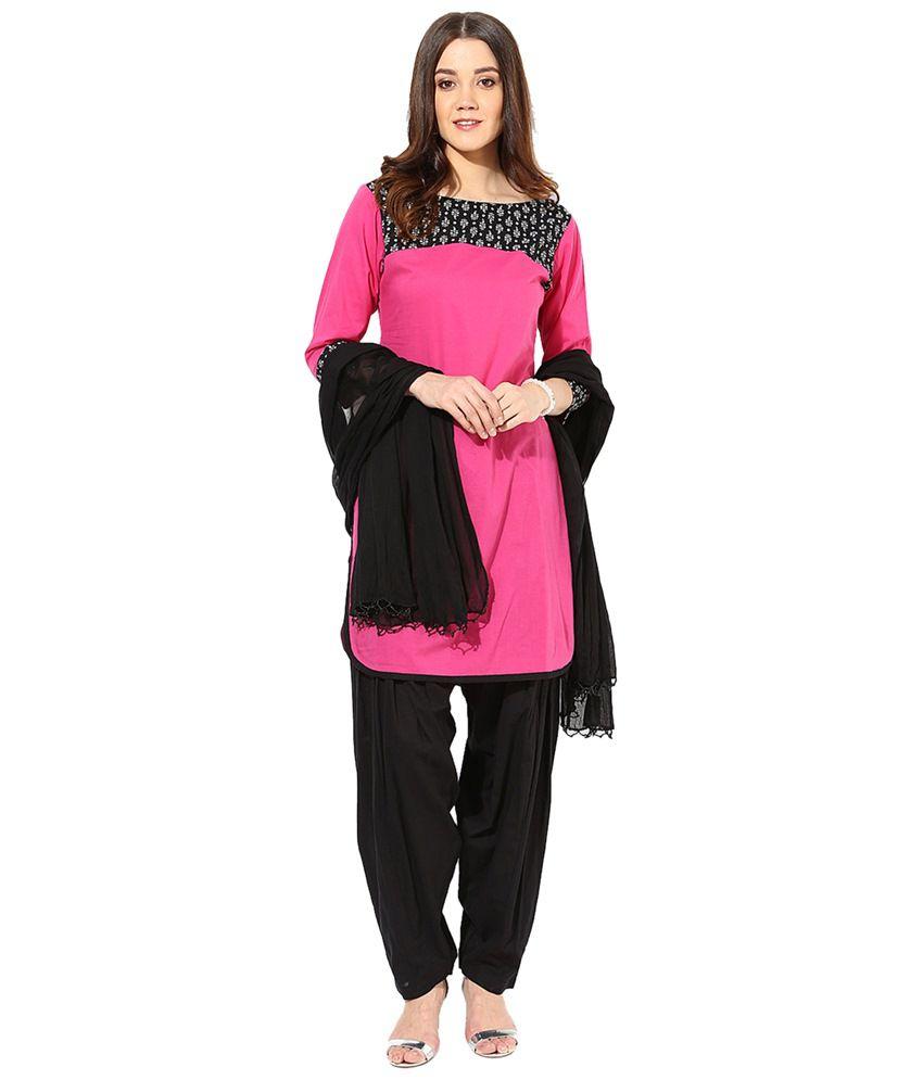 Jaipur Kurti Set of Pink & Black Cotton Kurta, Patiala Salwar & Dupatta