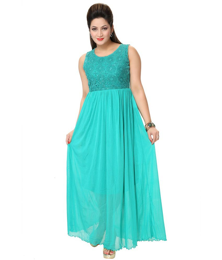 0f73a5303bd3 Kaira Turquoise Net Maxi Dress - Buy Kaira Turquoise Net Maxi Dress Online  at Best Prices in India on Snapdeal