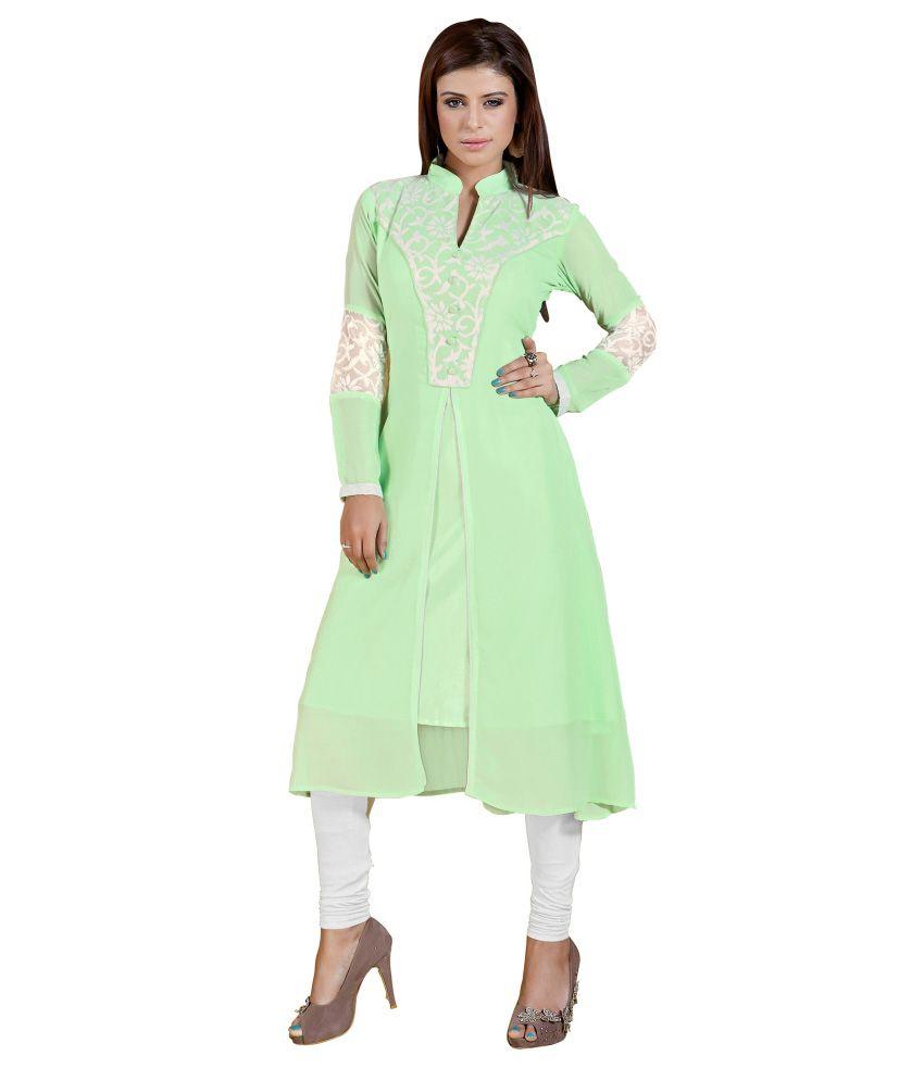 Khushali Green Faux Georgette Kurti
