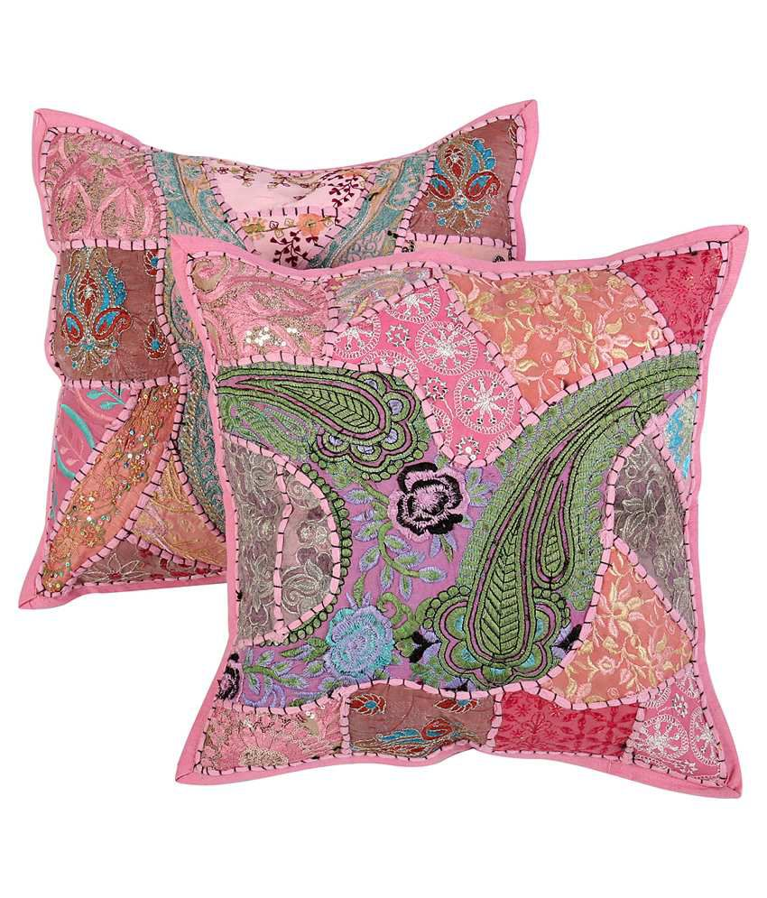 Rajrang Pink Floral Cotton Cushion Cover - Set of 2