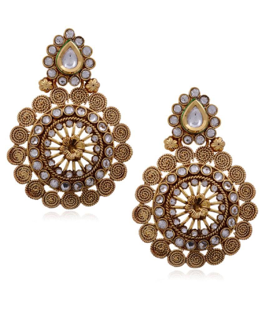 Hyderabad Jewels Golden Copper Hanging Earrings