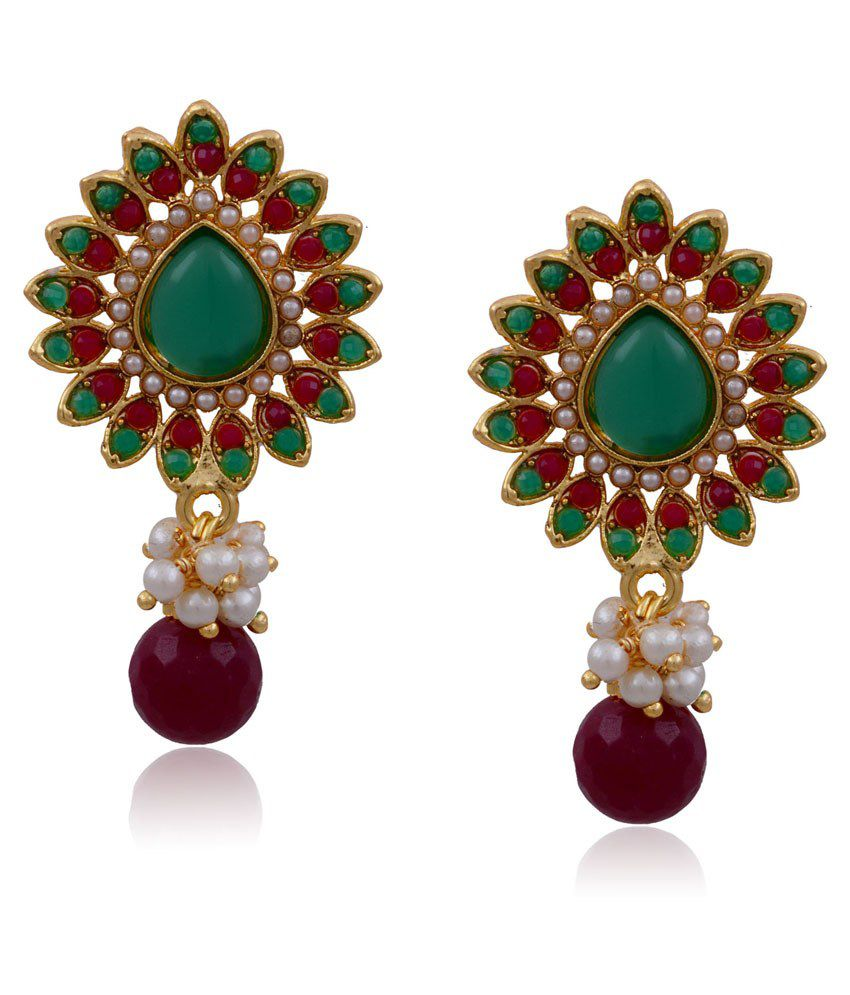 Hyderabad Jewels Multicolour Copper Drop Earrings