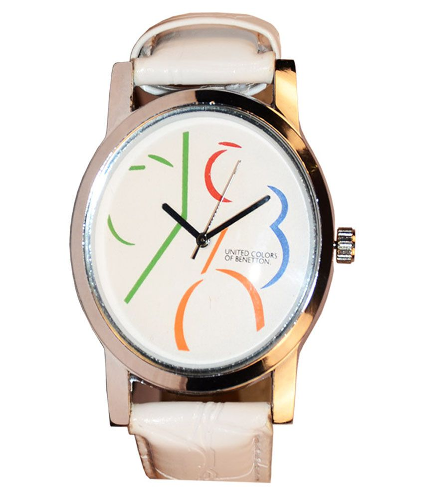 United colors of benetton white round dial white leather strap analog watch buy united colors for Benetton watches