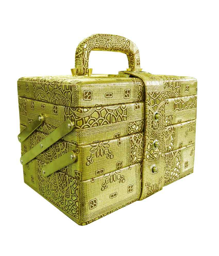 Ambica Small Golden Jewellery & Makeup Locker Box