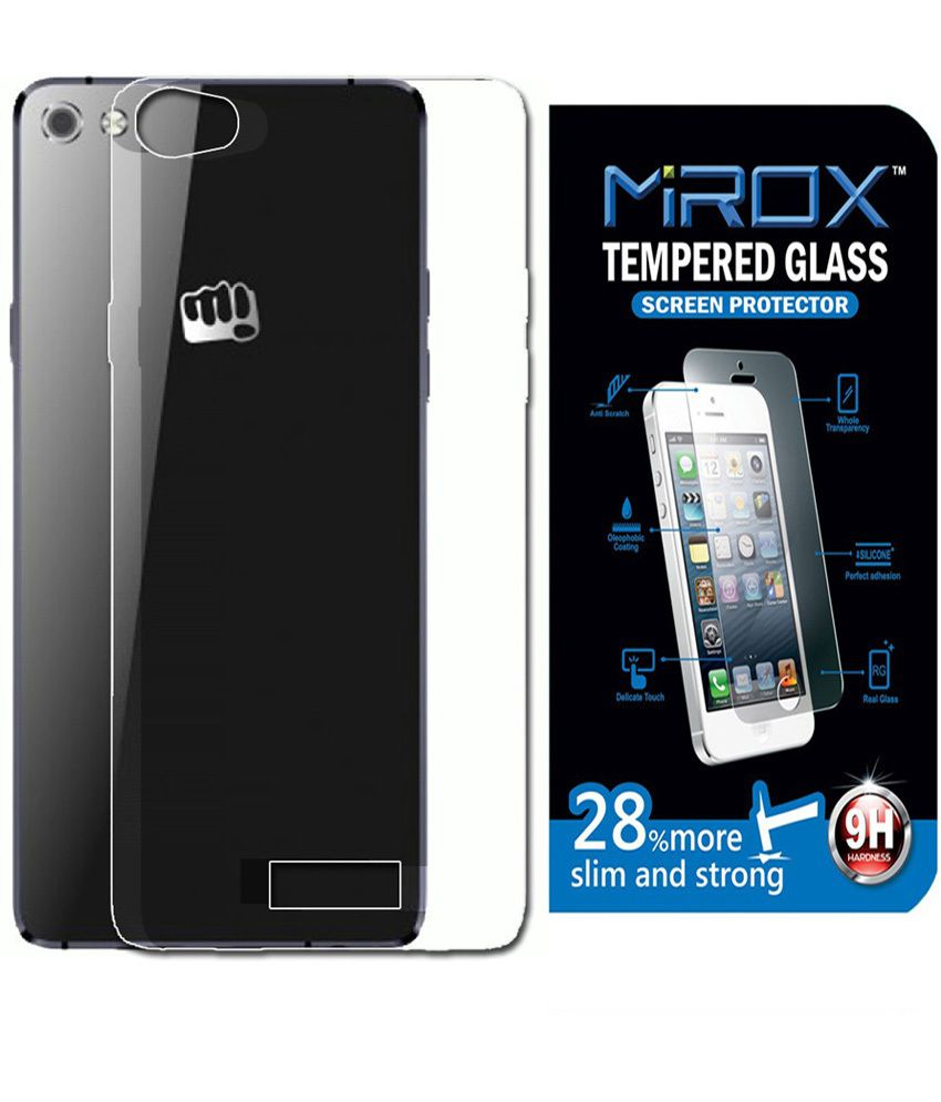 brand new ba44e bd7b1 Mirox Back Cover for Micromax Canvas Sliver 5 Q450 with Tempered Glass  Screen Guard - Transparent