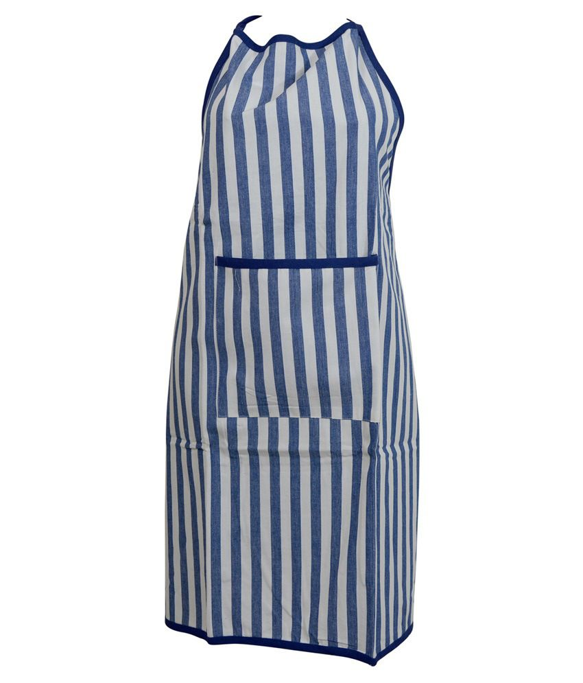 The Fancy Mart White And Blue Cotton Apron