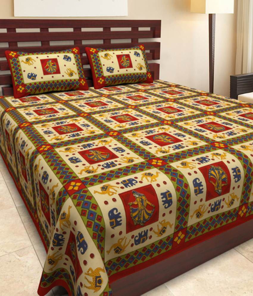 uniqchoice cotton jaipuri king size double bed sheet with. Black Bedroom Furniture Sets. Home Design Ideas