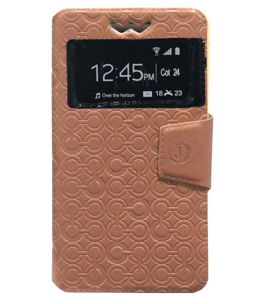 Jo Jo Flip Cover With Silicon Holder For Alcatel One Touch Snap Dual Sim With Dual Sim Card Slot-Brown