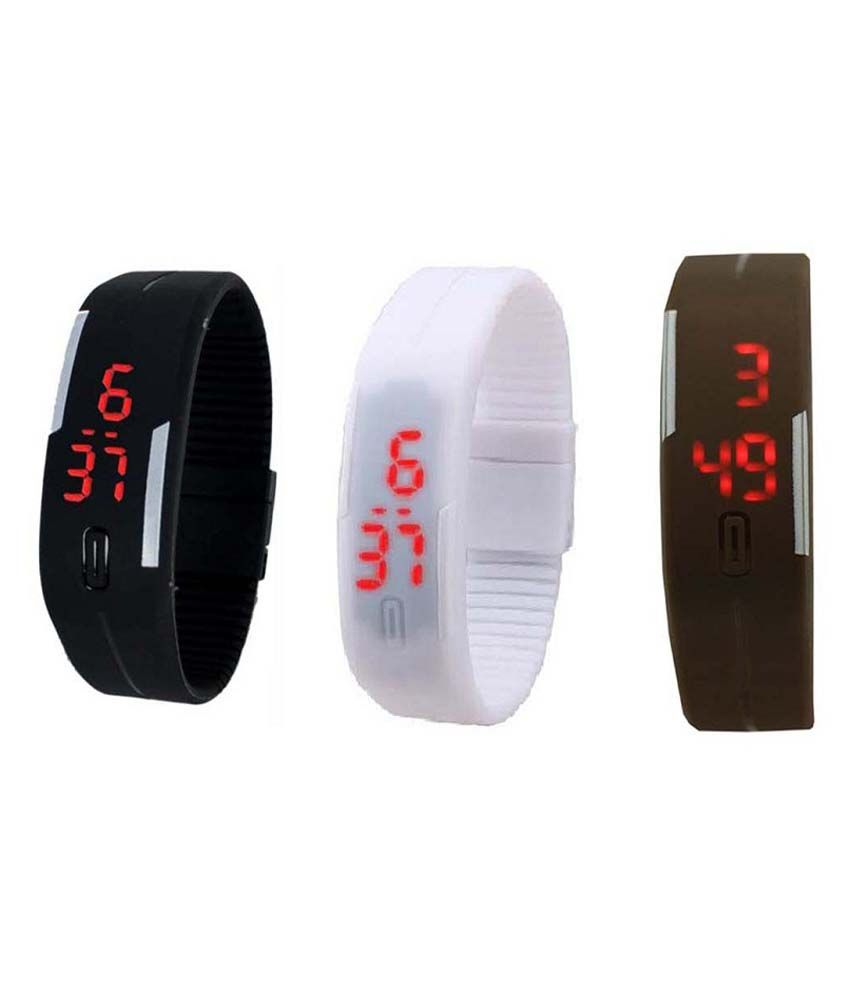 Lime Black LED Band Watch Pack Of 3