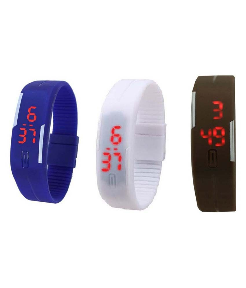 Lime Blue LED Band Watch Pack Of 3