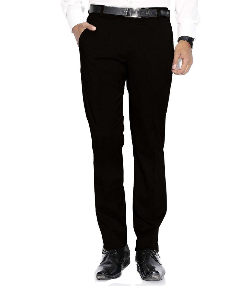 Febulous Black Regular Fit Formals Flat Trousers