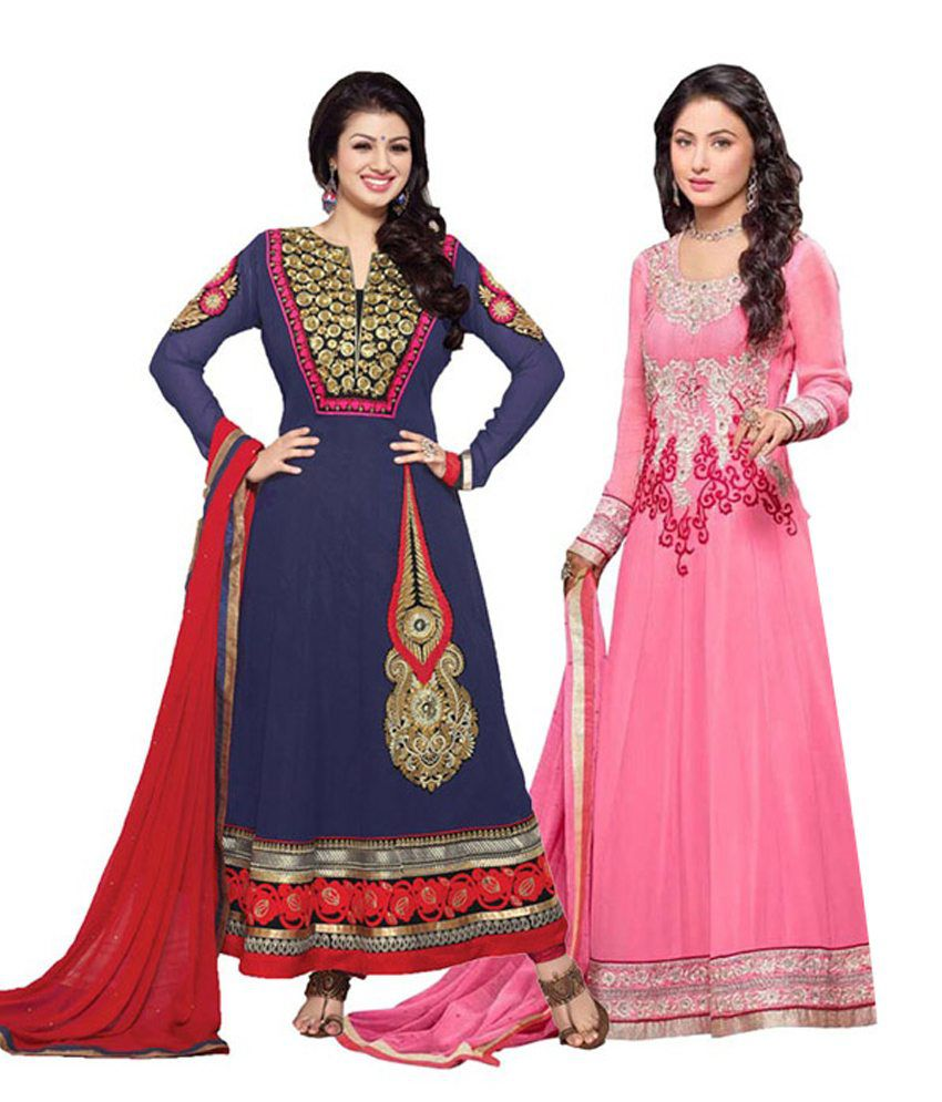 Indian Wear Online Multi Color Faux Georgette Semi Stitched Dress Material