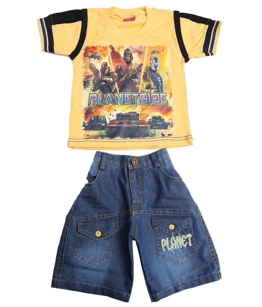 Sinchen Yellow Cotton T-Shirt & Shorts