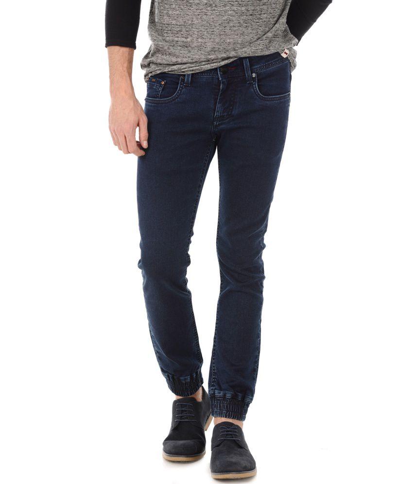 Basics Blue Blended Cotton Jogger Jeans