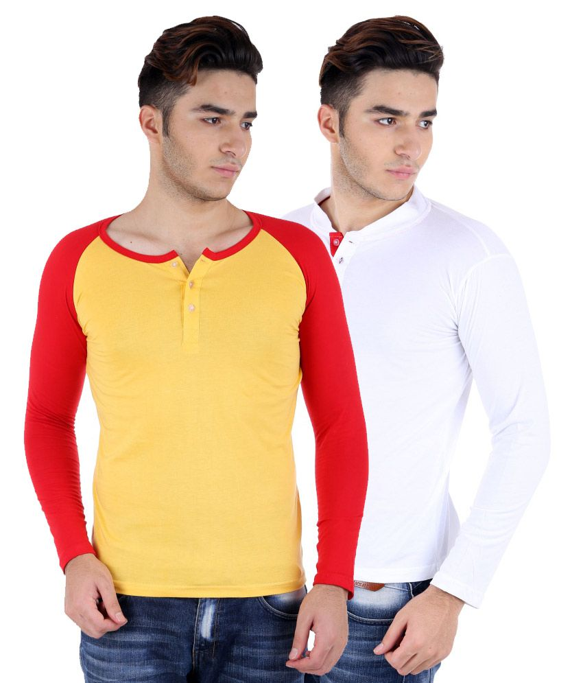 Big Idea Smart Wht & Ylw-Red Cotton Henley T-shirt Pack Of 2