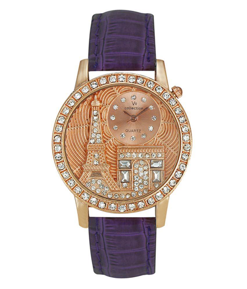 Crude Purple Leather Analog Watch