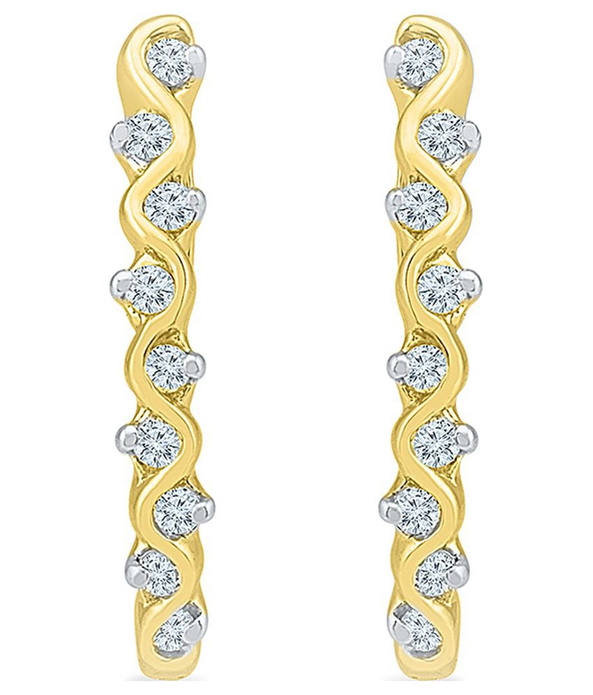 Radiant Bay Contemporary 14Kt Yellow Gold Huggie Earrings