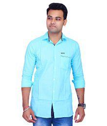 La Milano Blue Linen Slim Fit Shirt