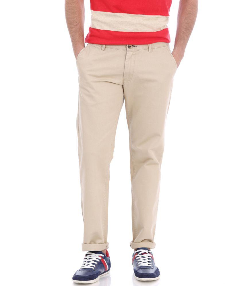 Basics Beige Cotton Flat Trousers
