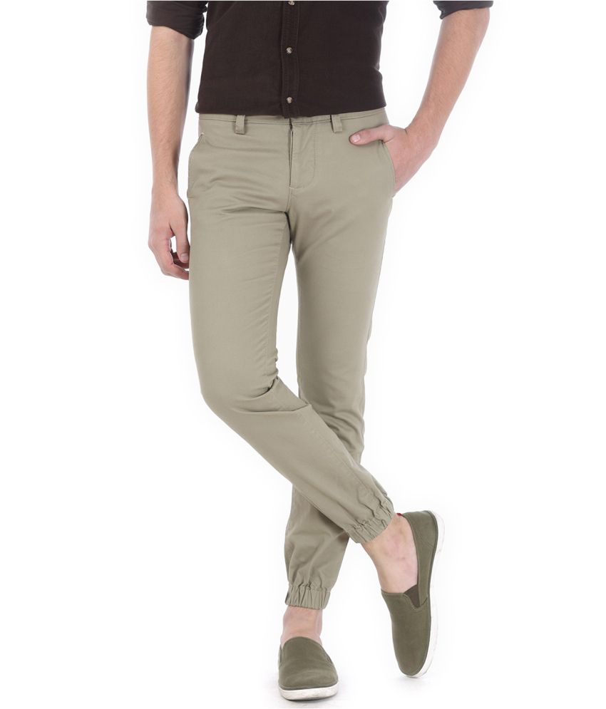 Basics Grey Blended Cotton Chinos