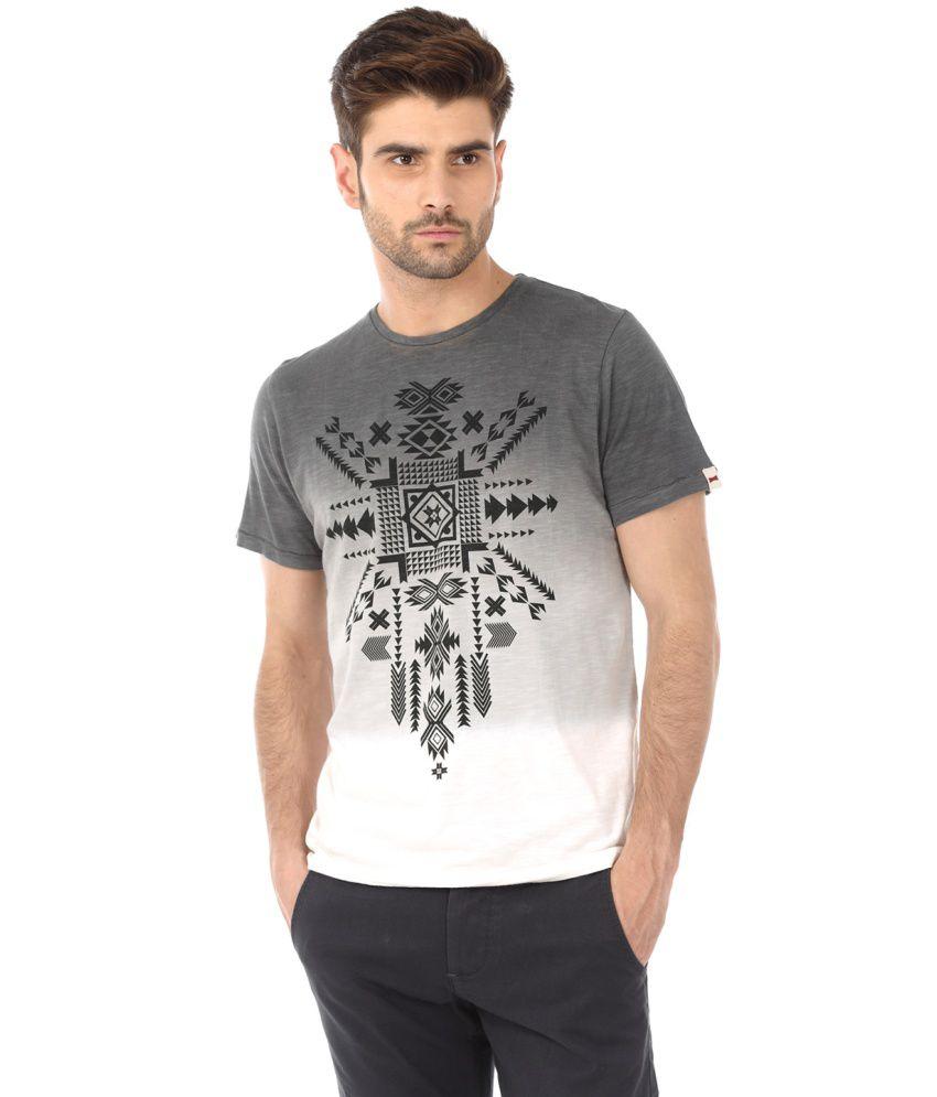 Basics Grey and White Nylon T-shirt