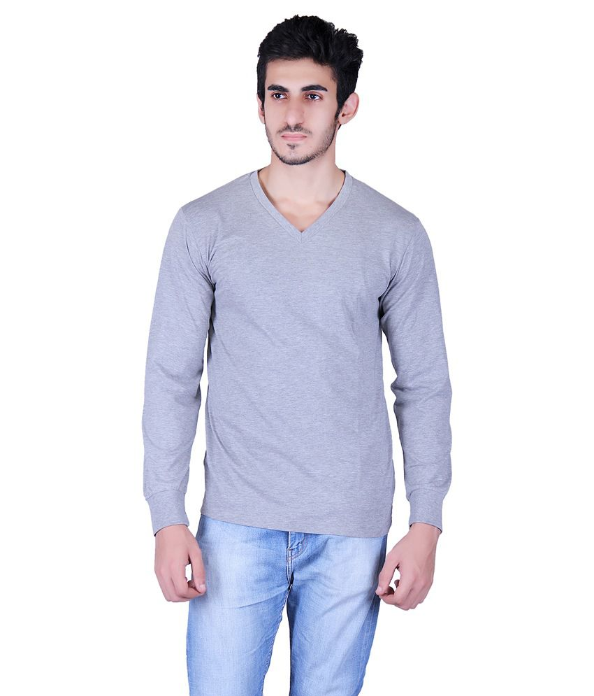 Vivid Bharti Grey Cotton Blend Full Sleeves T-shirt