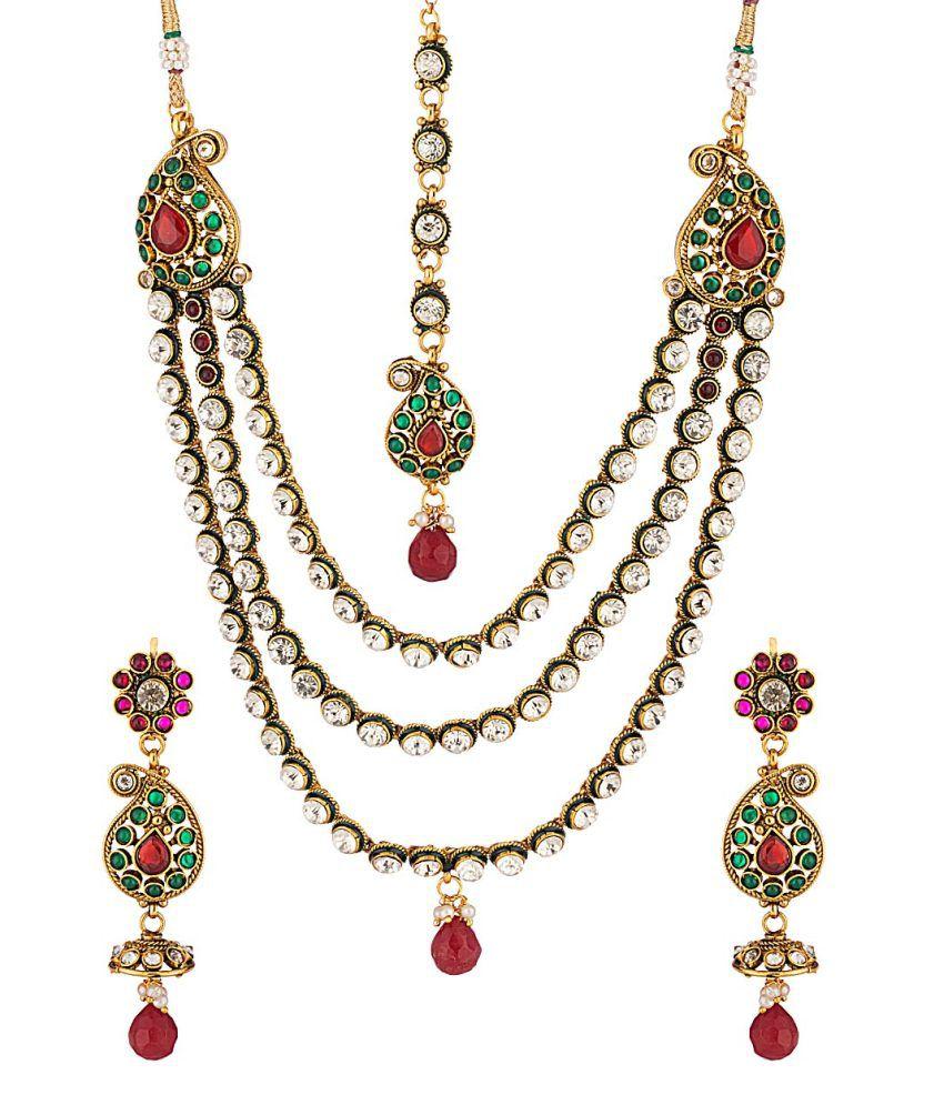 Voylla Golden Brass Crystal Necklace Set