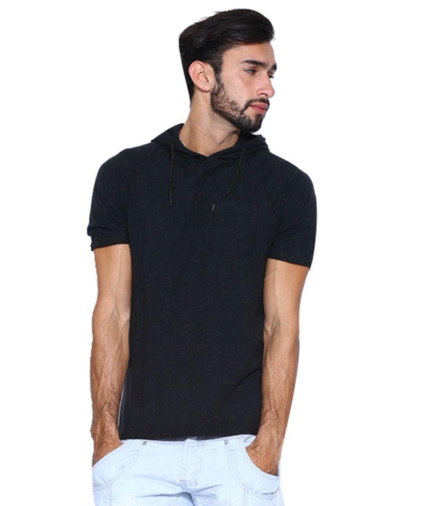 883 Police Cotton Blend Black Hooded Neck T-Shirt