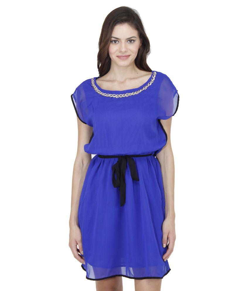 Mayra Blue Polyester Dresses