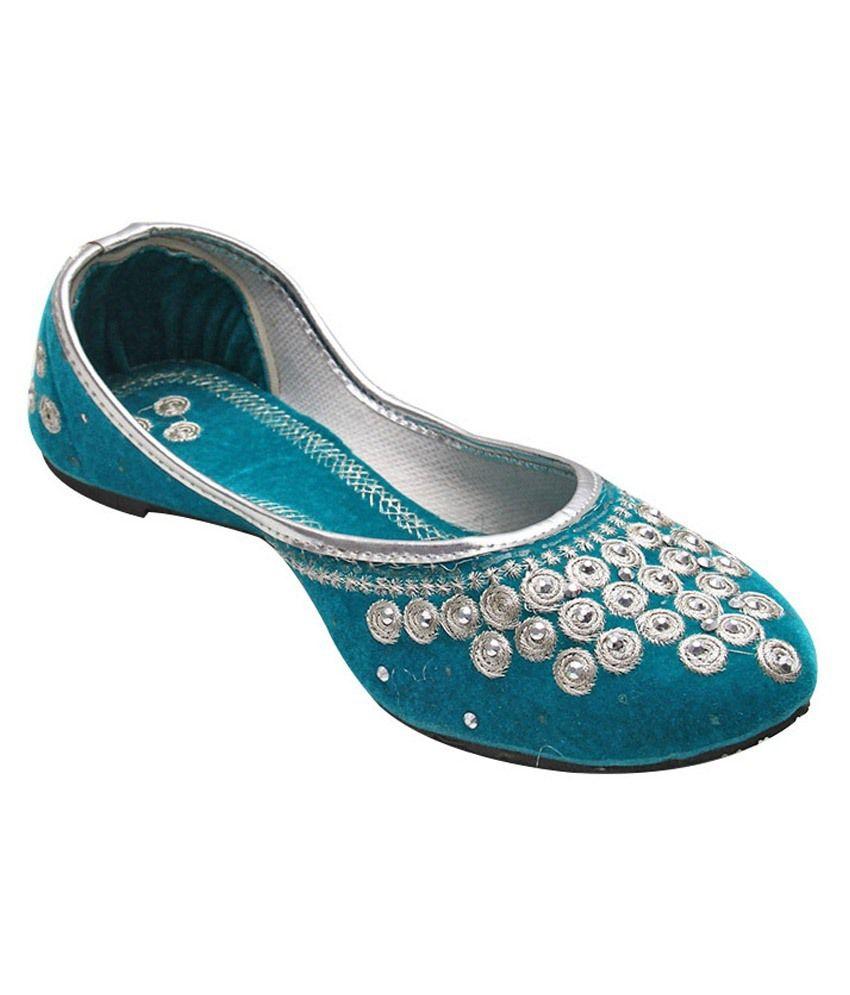 Port Blue & Silver Punjabi Jutti