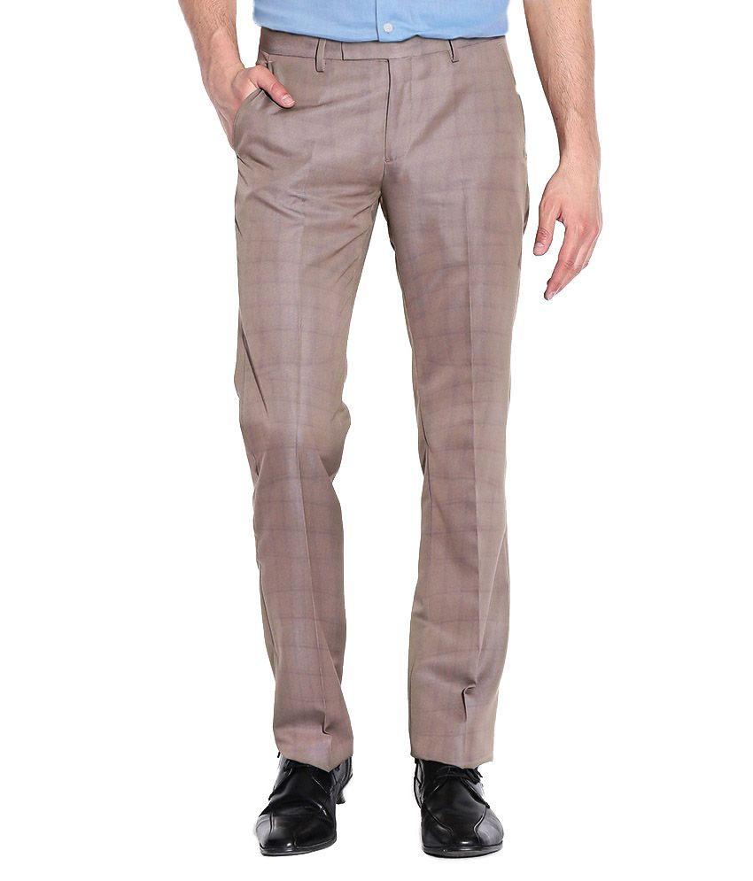 Aid Studio's Trousers Grey Slim Fit Formal Trouser