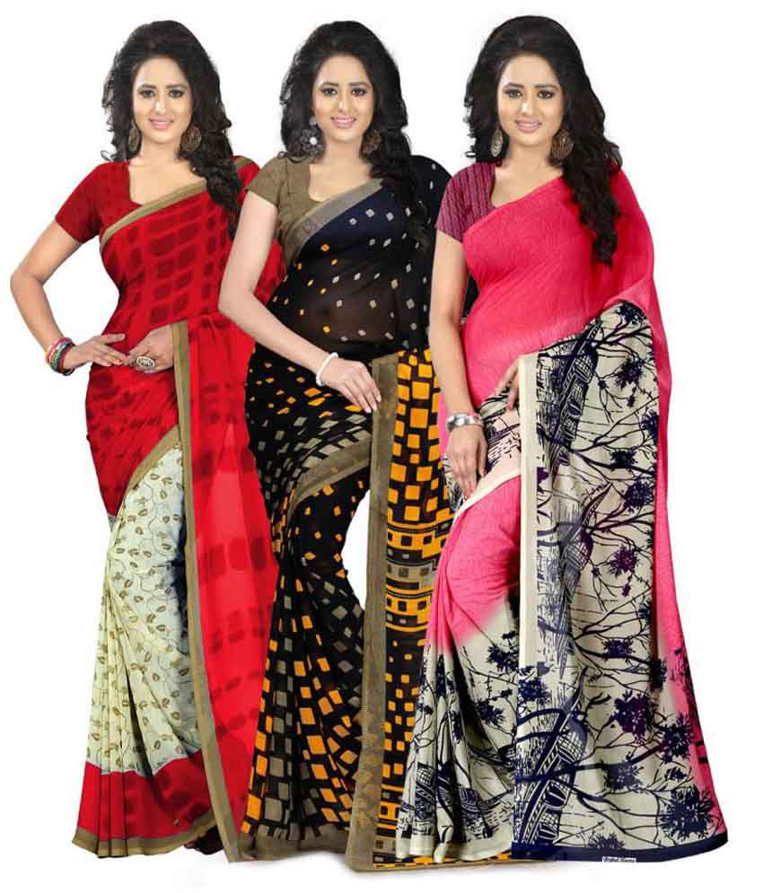 Heena Multicolour Georgette Pack of 3