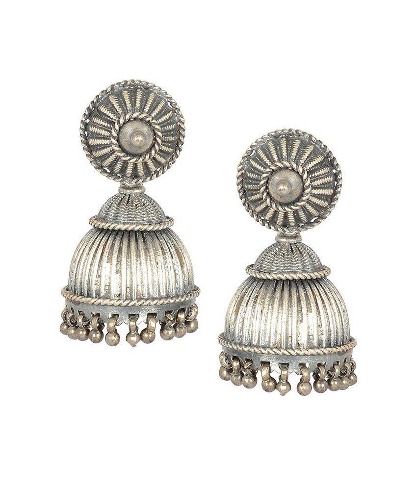 Jewels Of Jaipur Silver Jhumki Earrings
