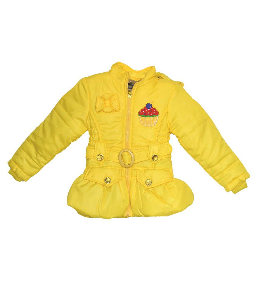 London Girl Yellow Ice Cup Hooded Jacket For Girls