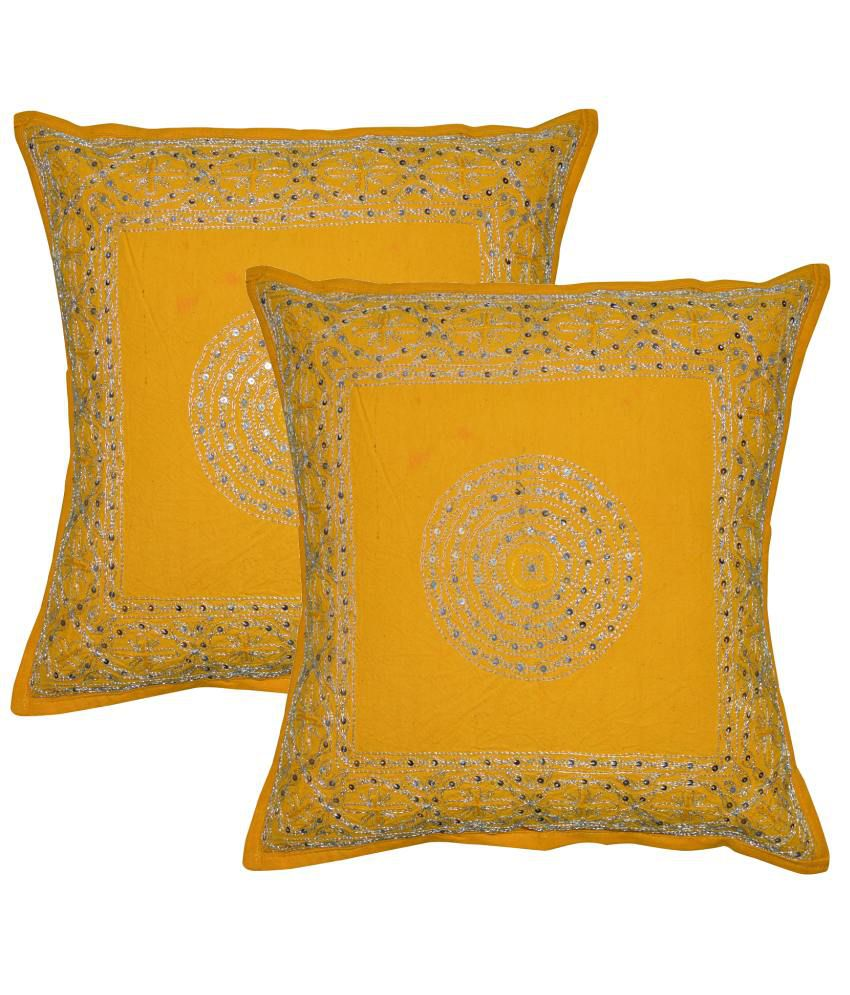Rajcrafts Yellow Ethnic Cotton Cushion Covers (Set Of 2)