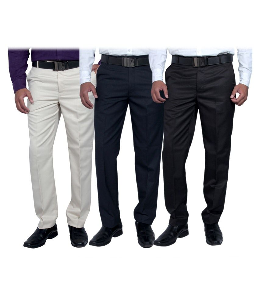 Routeen Multicolour Slim Fit Combo Of 3 Pleated Trousers
