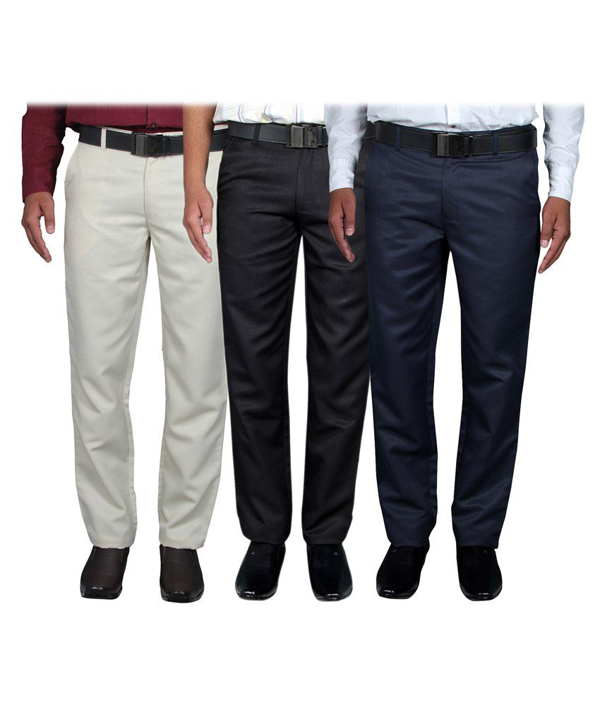Routeen Multicolour Slim Fit Combo Of 3 Flat Trousers