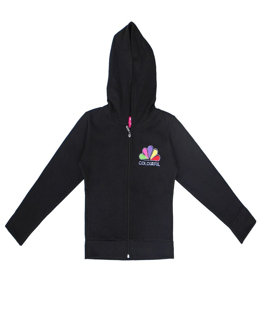 Sweet Angel Black Color Zipper Sweatshirt For Kids