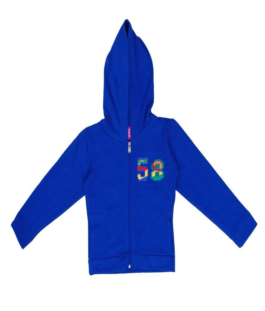 Sweet Angel Blue Color Zipper Sweatshirt For Kids