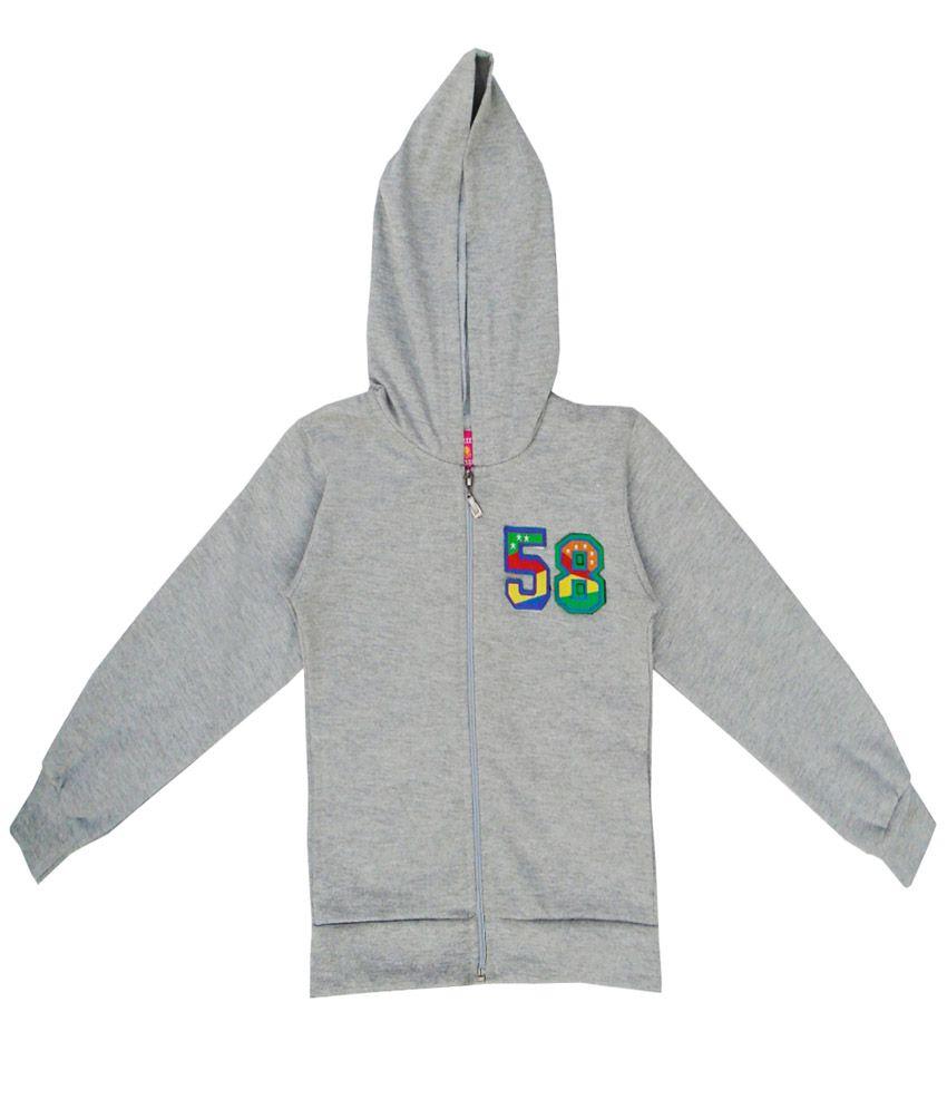 Sweet Angel Gray Color Zipper Sweatshirt For Kids
