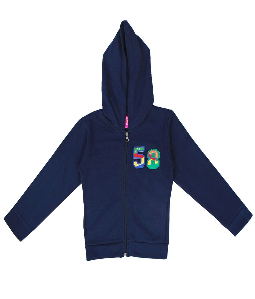 Sweet Angel Navy Color Zipper Sweatshirt For Kids