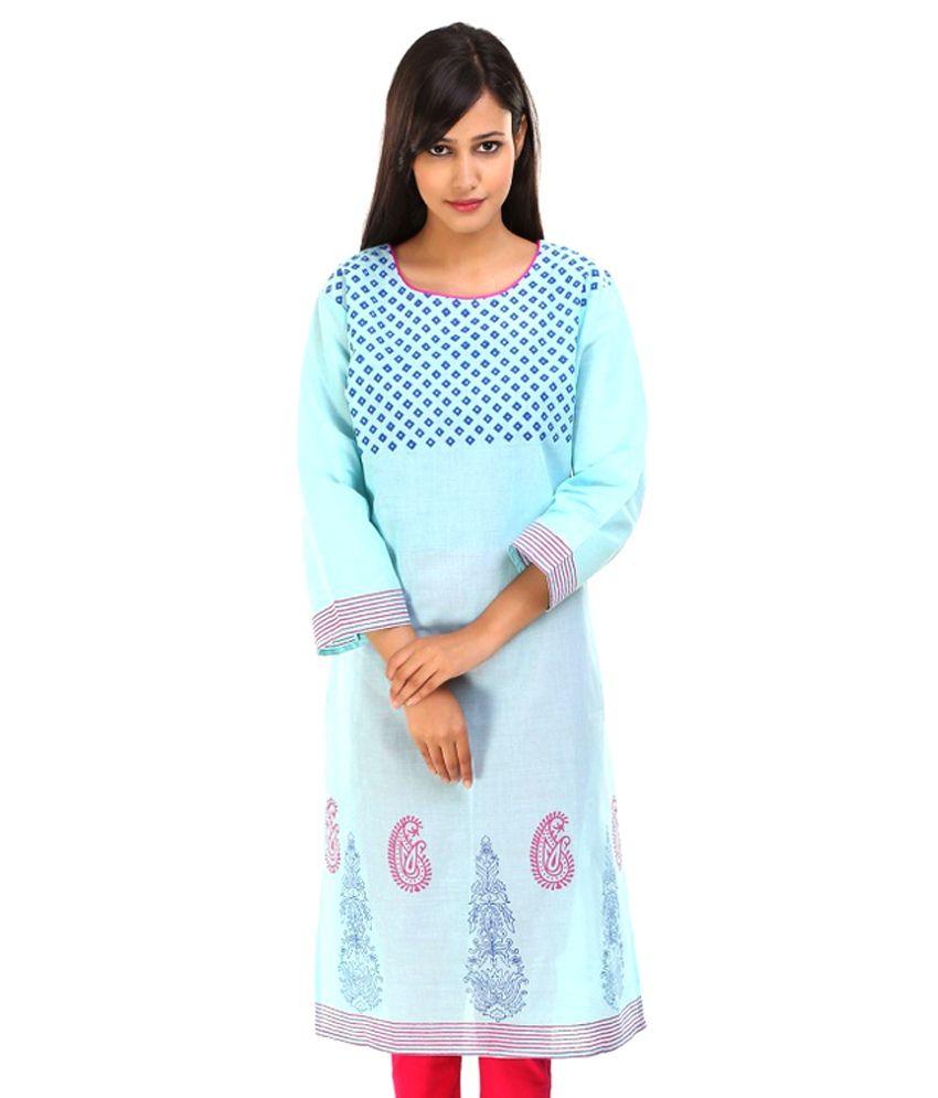 Aaika Blue Cotton Silk Kurti