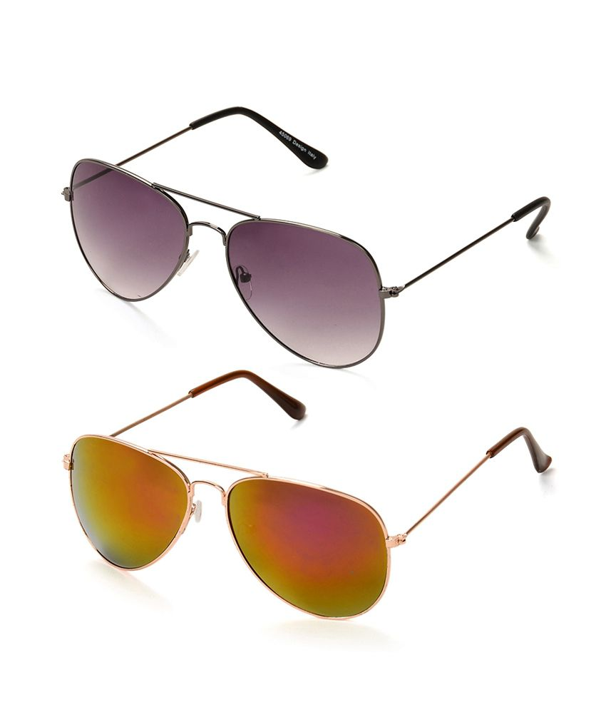 C & J Purple Aviator & Red Mercury Aviator Unisex Sunglasses
