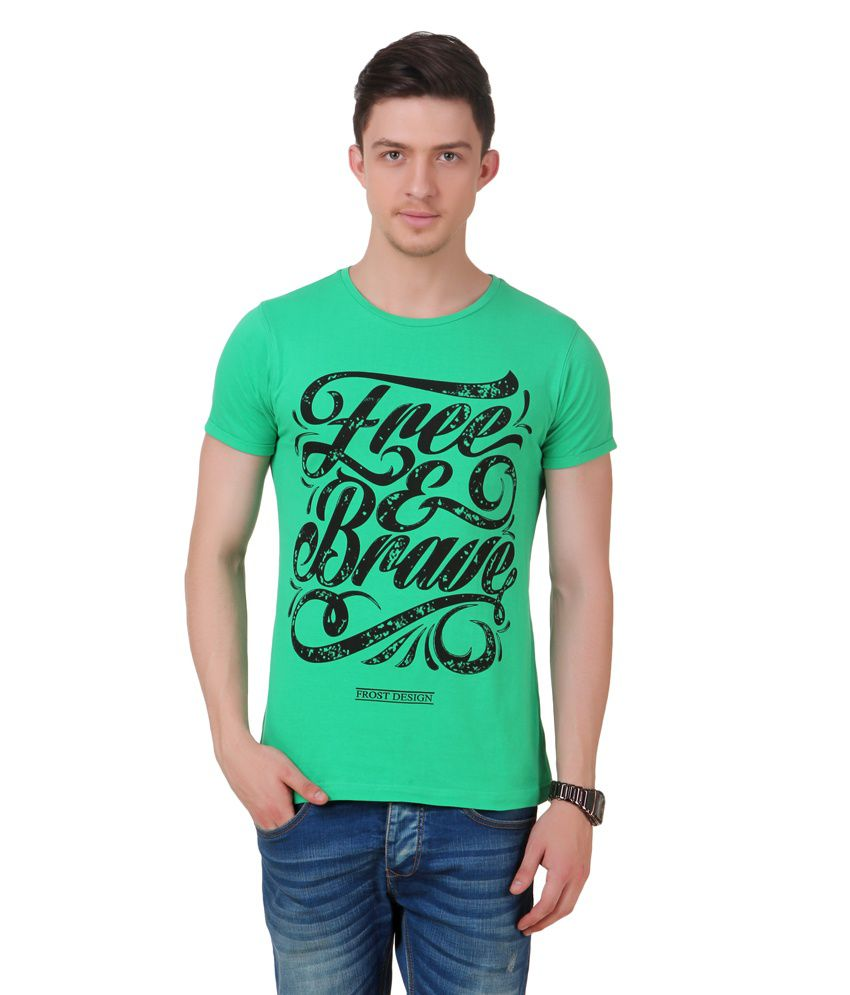 Frost Green Cotton Blended Round Neck T-shirt