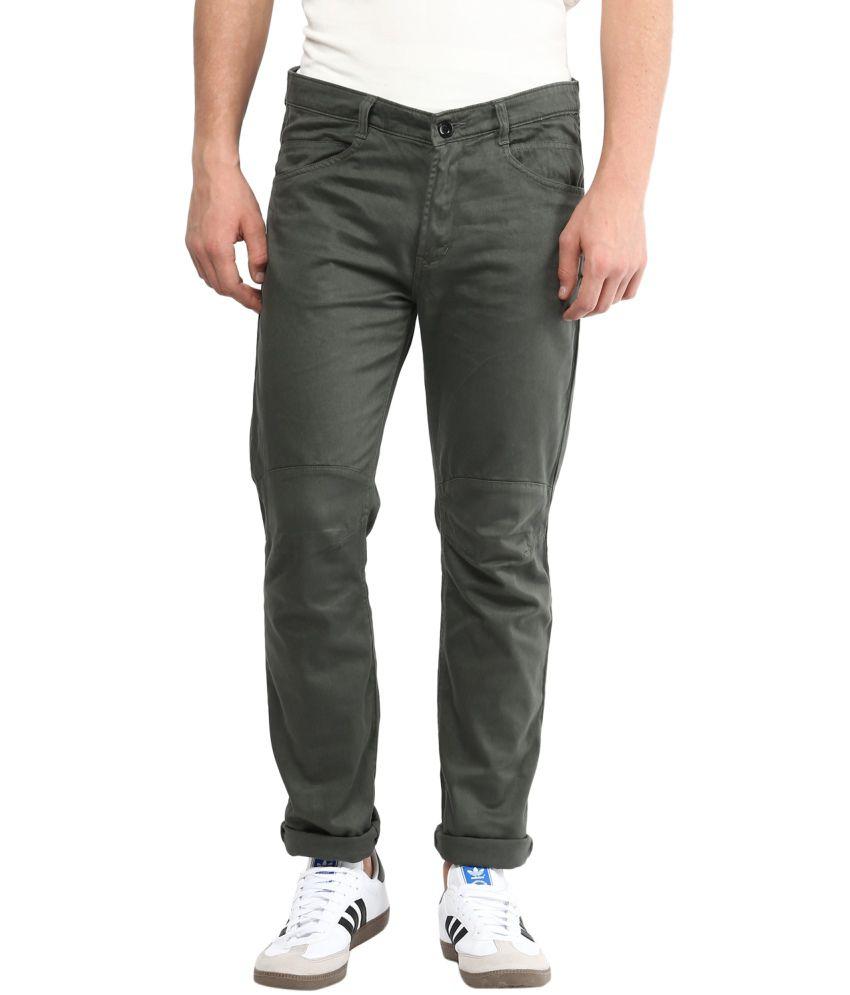 Silver Streak Green Cotton Chinos