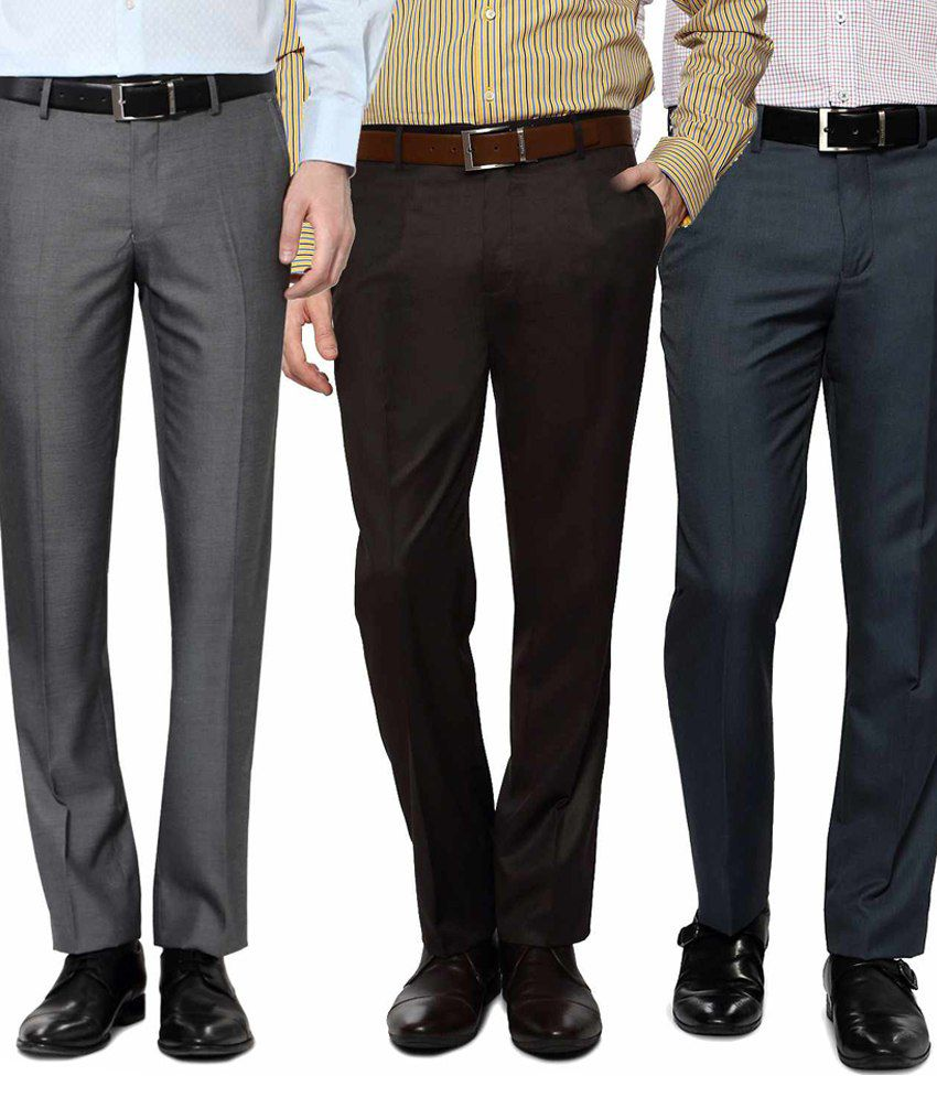 Indian MAD Multicolor Regular Fit Formal Pleated Trousers - Pack of 3