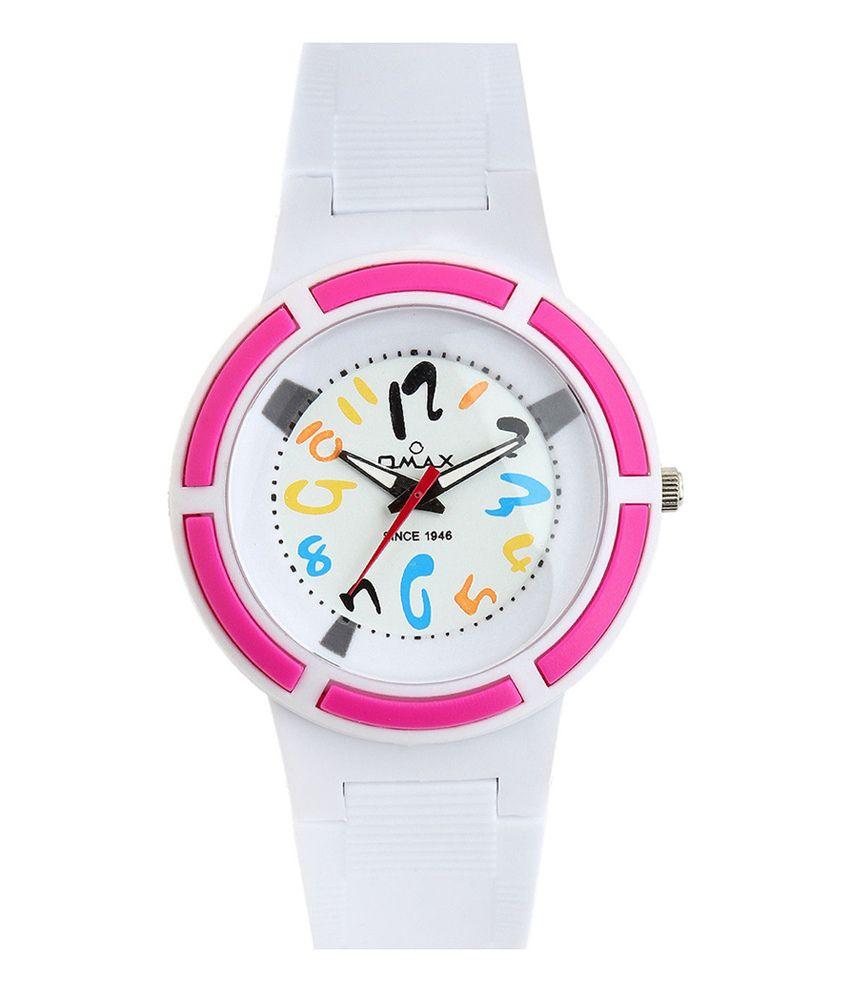 Omax White Round Analog Watch