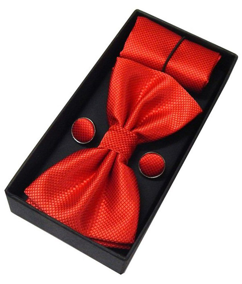 Solly Red Micro Fibre Formal Bow Tie With Pocket Square & Cufflink Set